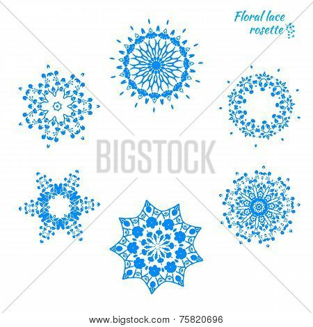 Set of laced snowflakes