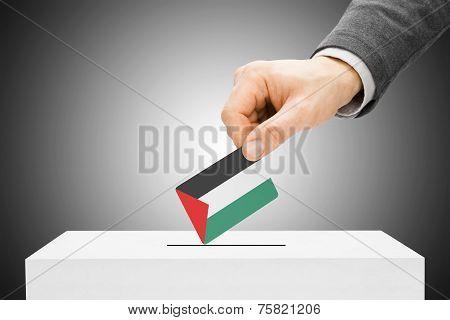 Voting Concept - Male Inserting Flag Into Ballot Box - Palestine