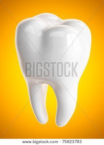 Tooth on a orange backgroun