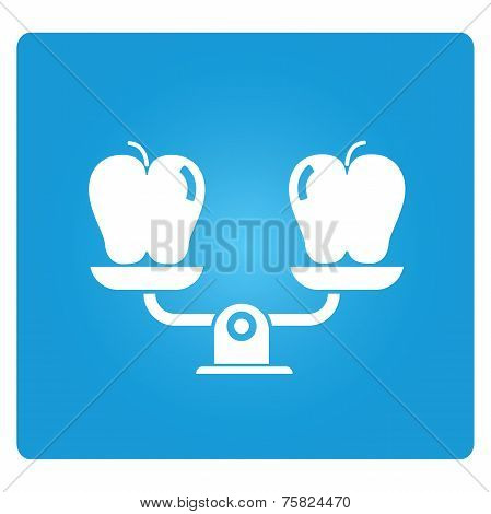 apple with balance scale