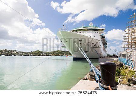 Black Bollard Blue Rope White Ship