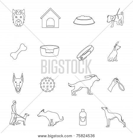 Dog icons outline