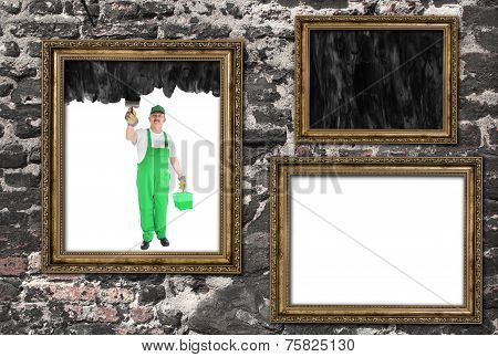 House Painter Covers Inside Of Three Frames