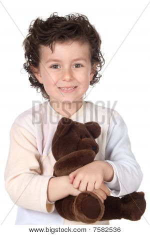 Pretty Boy In Pajamas With Teddy Bear