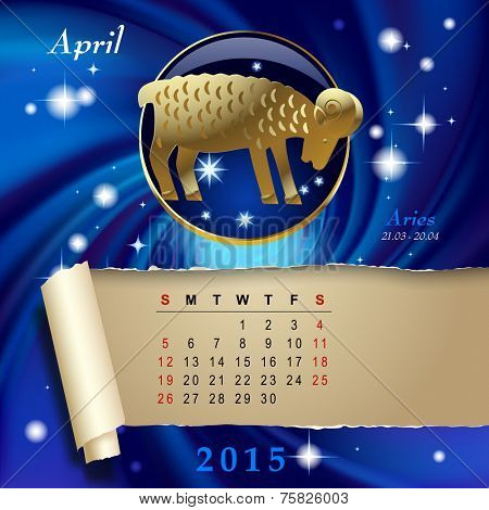 Simple monthly page of 2015 Calendar with gold zodiacal sign against the blue star space background. Design of April month page with Aries figure