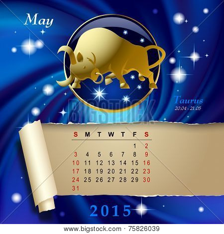 Simple monthly page of 2015 Calendar with gold zodiacal sign against the blue star space background. Design of May month page with Taurus figure