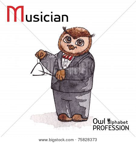 Alphabet professions Owl Letter M - Musician Vector Watercolor.