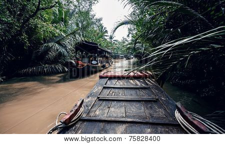 Rowing a boat in Vietnam