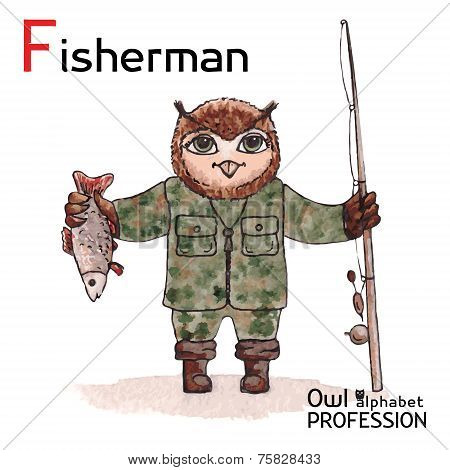 Alphabet professions Owl Letter F - Fisherman Vector Watercolor.