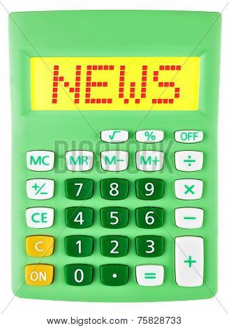 Calculator With News On Display Isolated