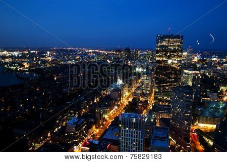 Aerial View Of Boston After Sunset