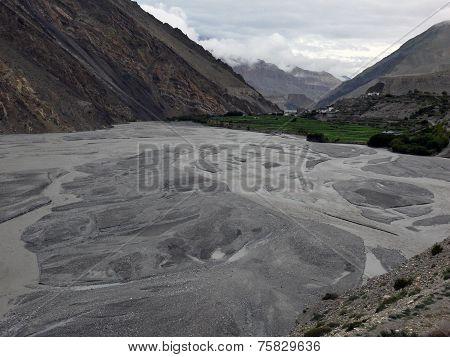 River Delta Near Himalayan Town Kagbeni