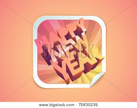Stylish sticky design with 3D text Happy New Year on shiny pink and orange background.