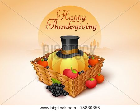 Wooden basket full of fruits, vegetable and pilgrim hat for Thanksgiving Day celebration on nature background.