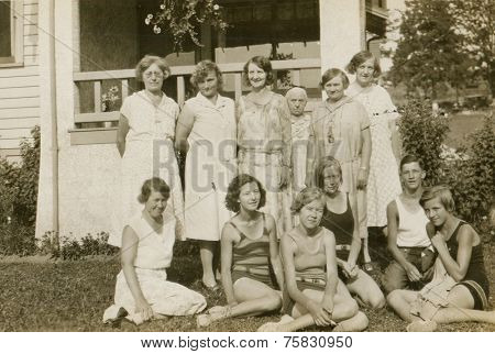 CANADA - CIRCA 1930s: Vintage photo shows Group portrait of young girls.