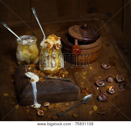 Ice Cream On Rustic Wooden Background