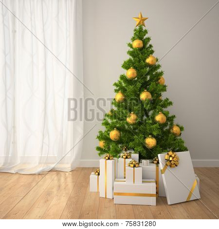 Christmas tree with gold decor and gift boxes  in classic style room. 3D interior rendering