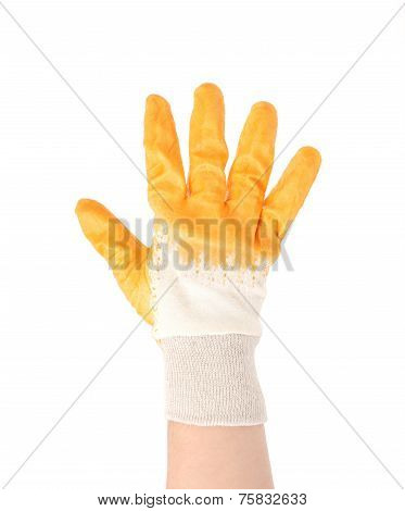 Hand in glove showing five fingers.