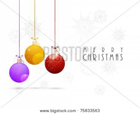 Merry Christmas celebration with hanging X-mas balls and stylish text on snowflakes decorated white background.