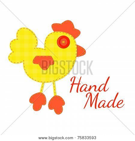 Concept of hand made logo. Vector illustration. Cock of the tissue.
