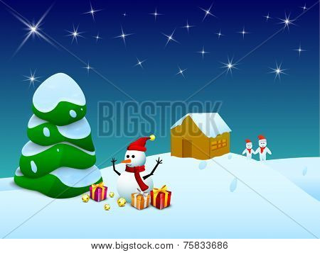 Merry Christmas celebration with X-mas tree covered with snow on winter night background.