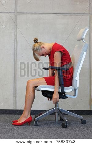 office occupational disease prevention - business woman exercising on chair
