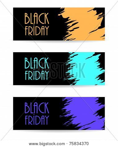 Black Paper Banner With Black Friday Design, Vector Illustration, Eps10