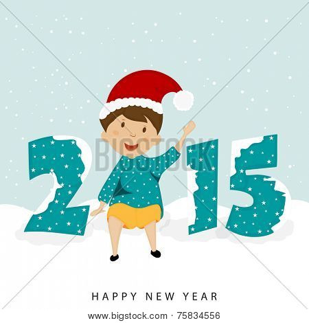 Cute little kid in Santa's cap with stylish text 2015 covered by snow, Merry Christmas and Happy New Year celebrations.