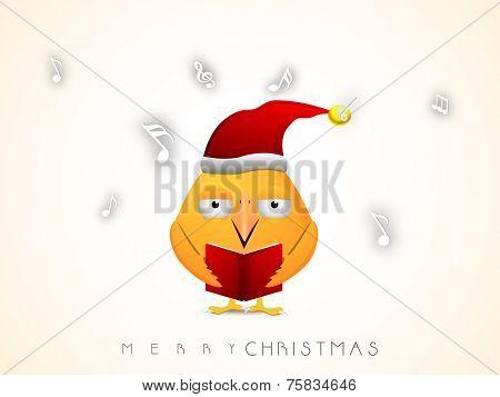 Merry Christmas celebration with cute cartoon bird in Santa cap singing jingle.
