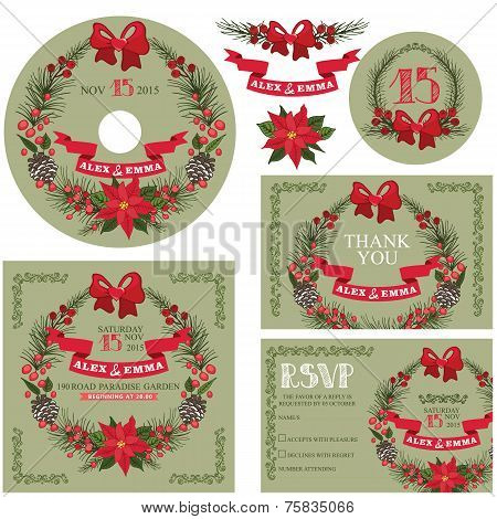 Winter wedding template set with christmas wreath