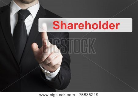 Businessman Pushing Flat Button Shareholder