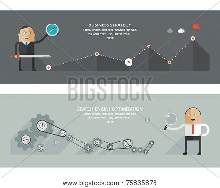 Flat design concepts for business strategy, search engine optimization, finance, achievement of objectives, consulting, support service, great idea