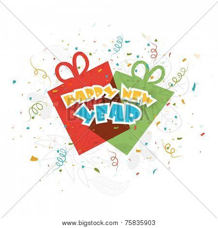 Stylish text Happy New Year with gift boxes on ribbon decorated white background.