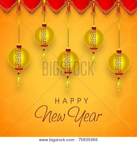 Beautiful greeting card design with glossy hanging Chinese lanterns on decorative background for Happy New Year celebrations.