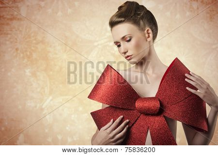 Lovely Girl With Christmas Bow