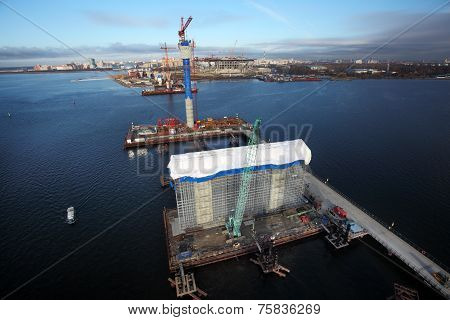 Construction Site Of Cable Stayed Bridge, Temporary Technological Platforms.