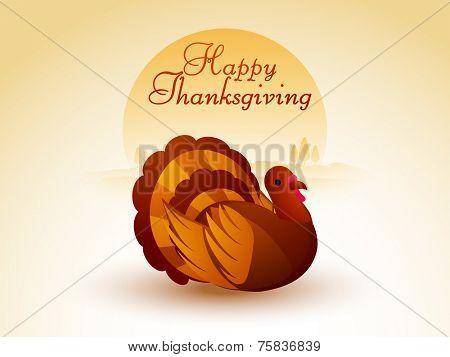 Beautiful cartoon of a turkey bird for Happy Thanksgiving Day celebration on stylish nature background.