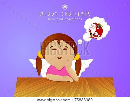 Cute little girl thinking about Santa Claus for Merry Christmas celebrations.