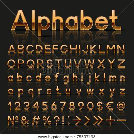 Decorative golden alphabet
