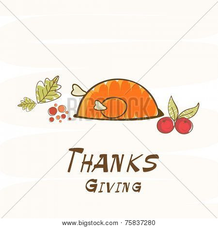 Celebration of Thanksgiving Day with cooked chicken, fruits and autumn leaves on beige background.