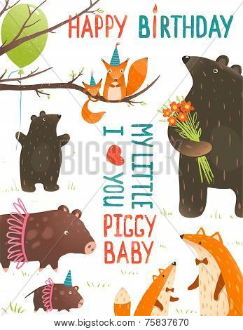 Birthday Card with Forest Animals Mothers and Babies