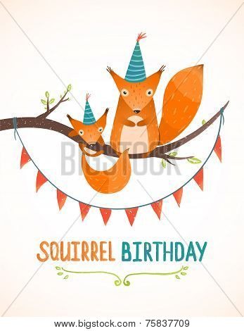 Little Squirrel and Mother Birthday Greeting Card Cartoon Illustration
