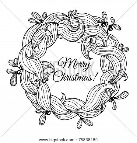 Template greeting card with Christmas wreath