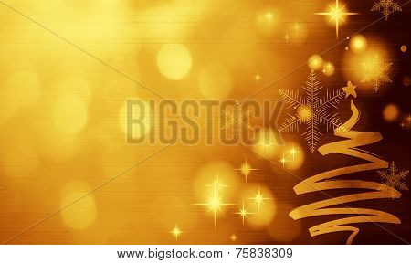 Christmas Golden Background With Christmas Tree
