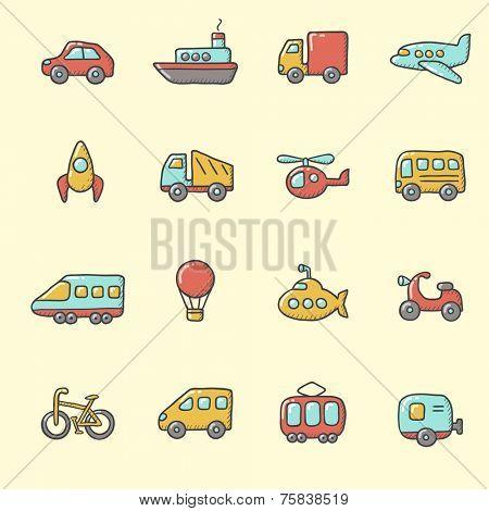 Transport icons �¢�?�? cartoon, hand drawn style