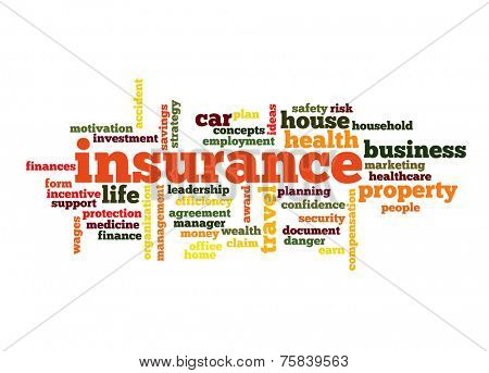Insurance Word Cloud Concept in red  with great terms such as auto, house, travel and more