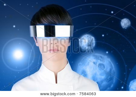 Silver Futuristic Glasses Woman Space Planets
