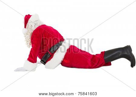 Santa claus in cobra pose on white background
