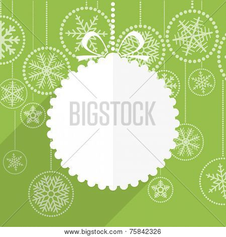 Green Christmas greeting card with white christmas bauble and snowflake background. Merry Christmas and Hapy New Year