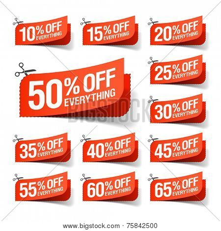 Everything is on Sale coupons. Vector.